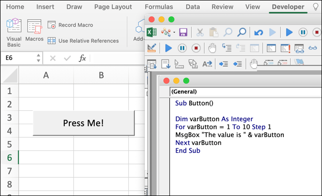 """A VBA code snippet in Microsoft Excel, with a pop-up button with the text """"Press me!"""""""