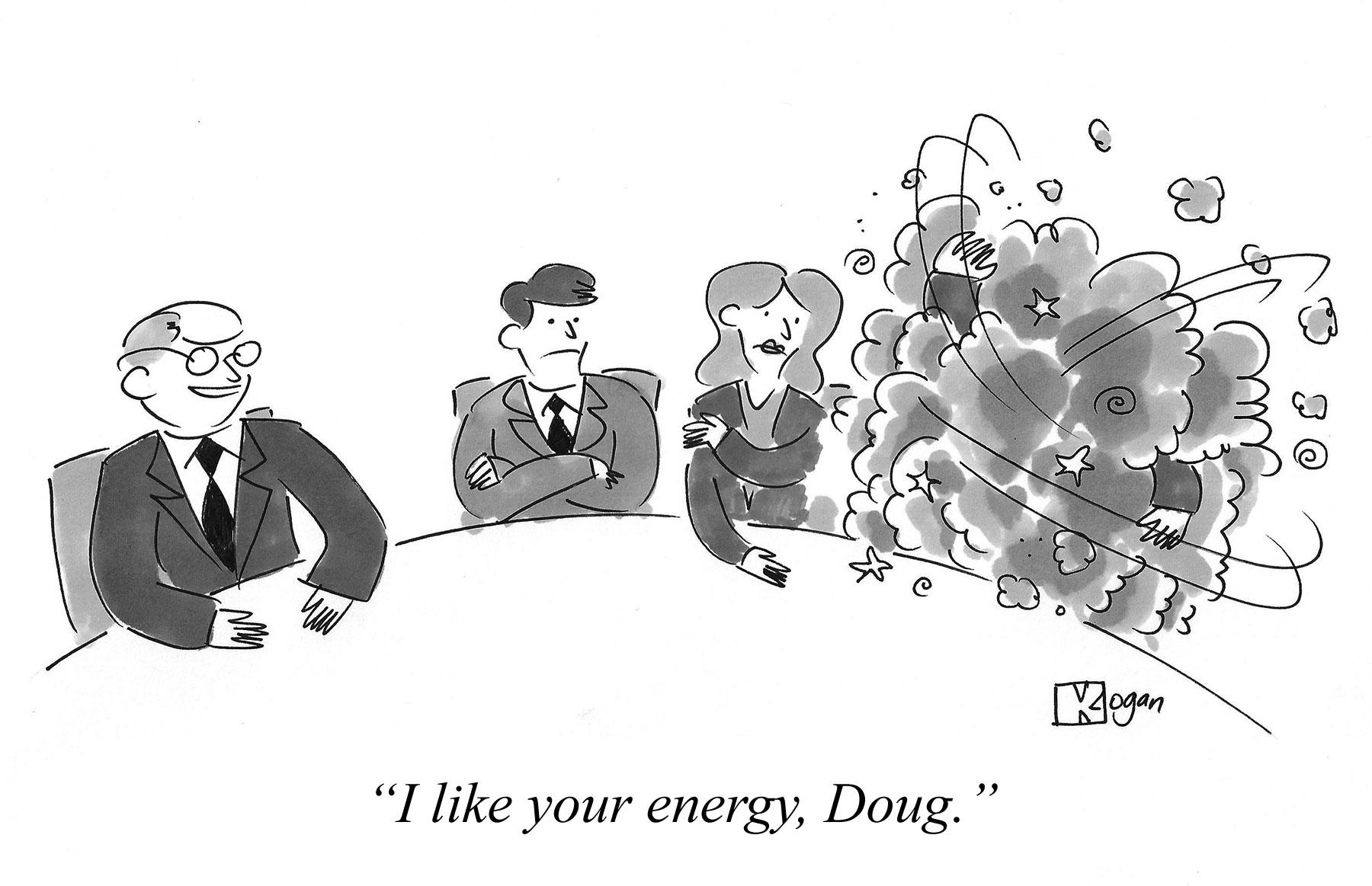 Cartoon about a high-energy employee