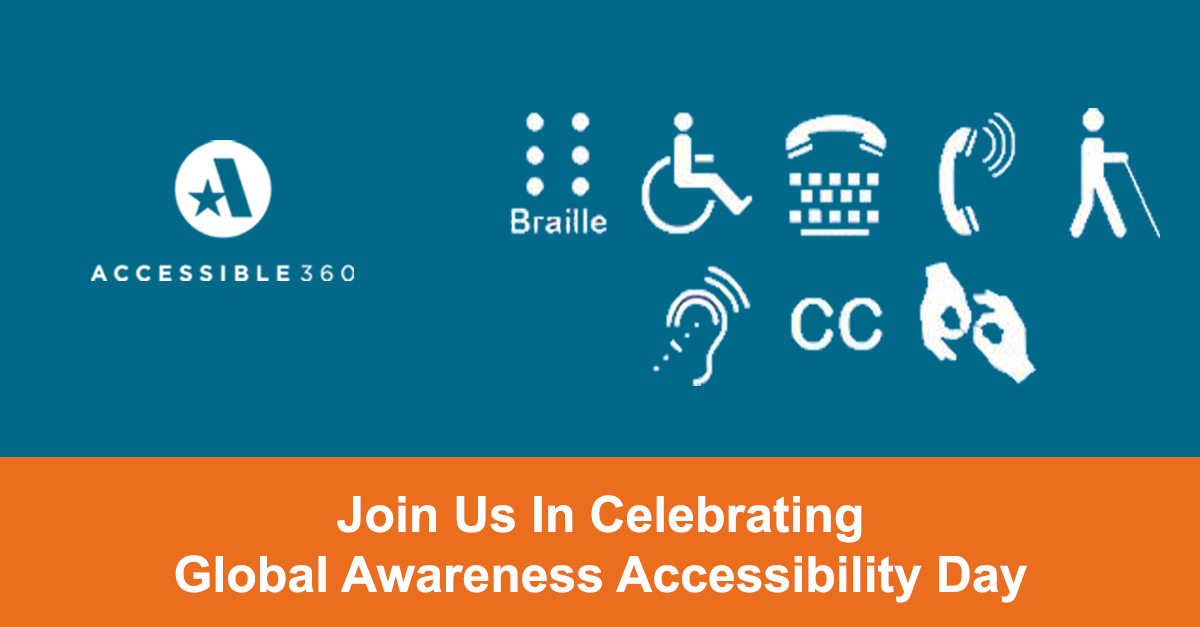 A360 GAAD poster with various disability icons