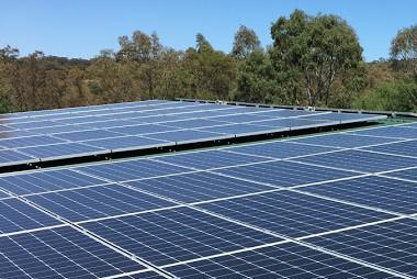 Large solar panel installation