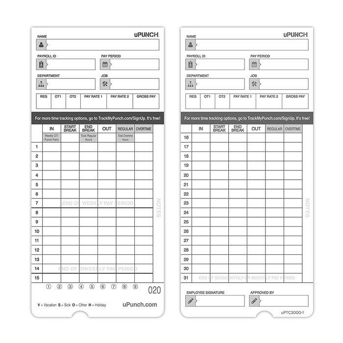 HN4000 Time Cards (100 Pack)