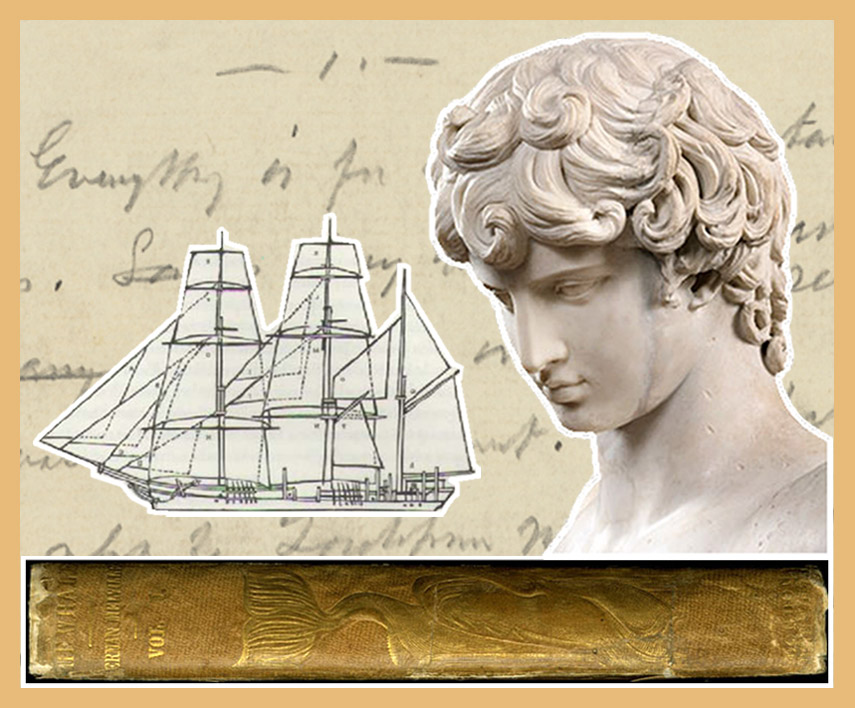 Mashup of Moby Dick book spine, Antinous and Billy Bugg manuscript