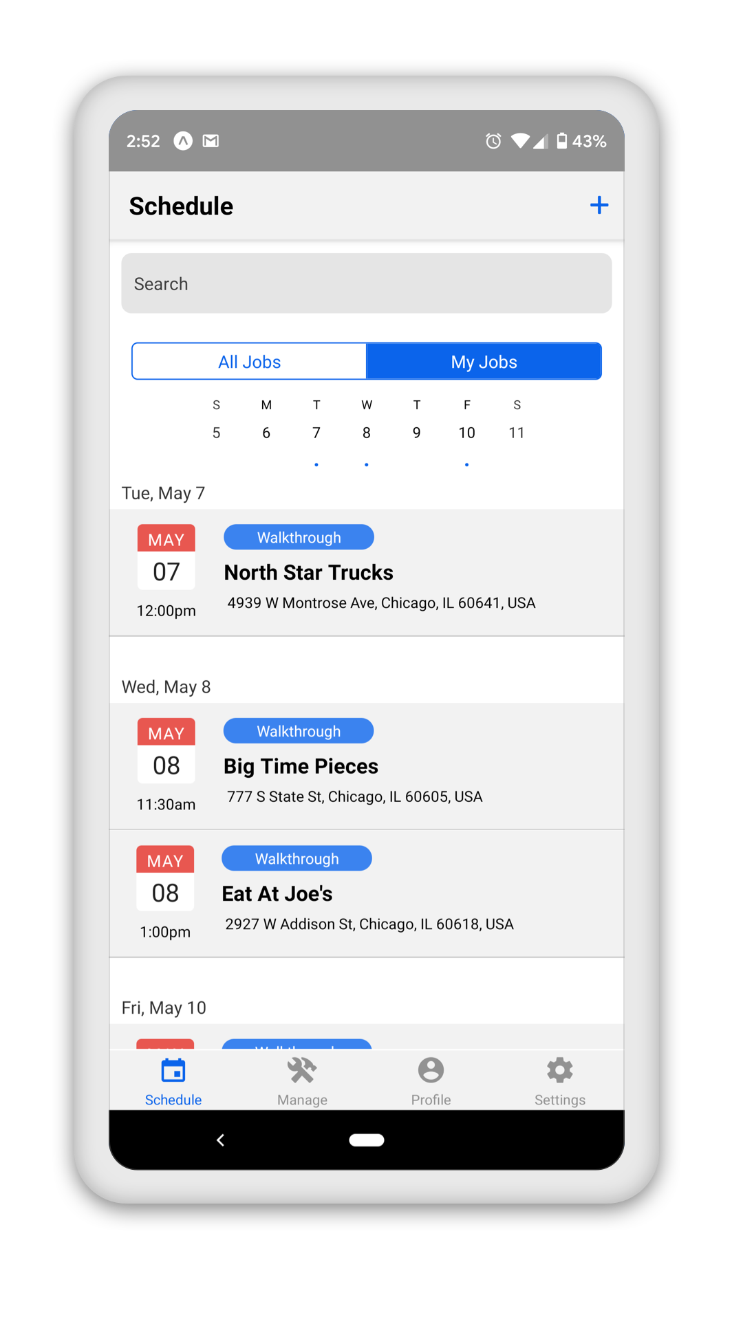 screen showing a schedule of walkthroughs