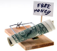 Mousetrap with dollars as bait and 'Free money' sign