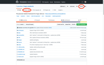 GitHub code repository of the hugo-academic theme.