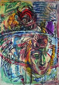 """Lilian Mosolainen, Estonia. """"Kummalline külaline"""" 2006. Canvas, oil, 48x70cm"""
