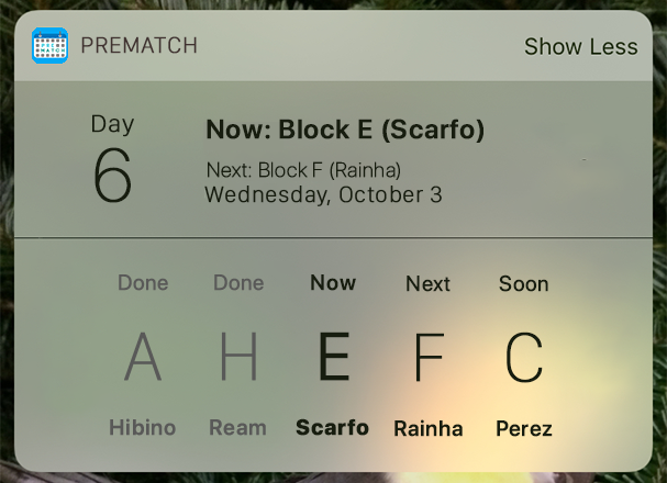 PreMatch Widget