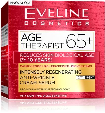 EVELINE AGE THERAPIST® 65+ intenzív regeneráló és ránctalanító nappali/éjszakai krém-szérum 50 ml