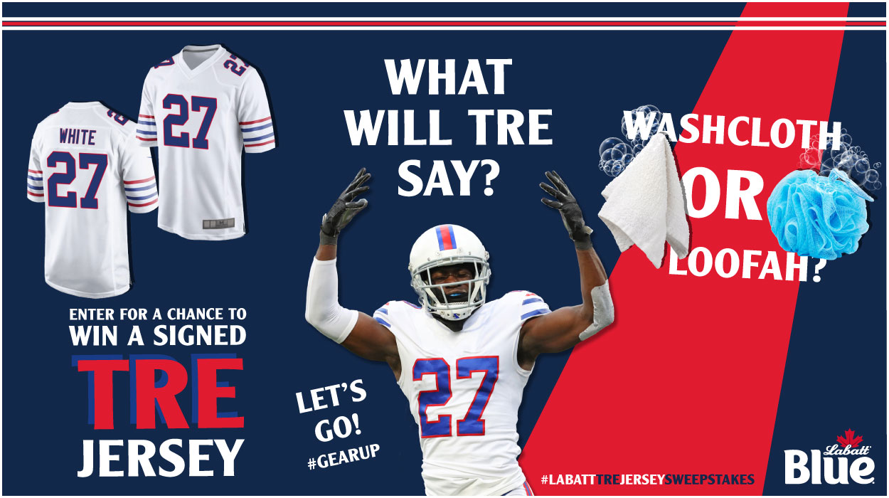 What will Tre say? Enter for a chance to win a signed Tre Jersey. Washcloth or Loofa?