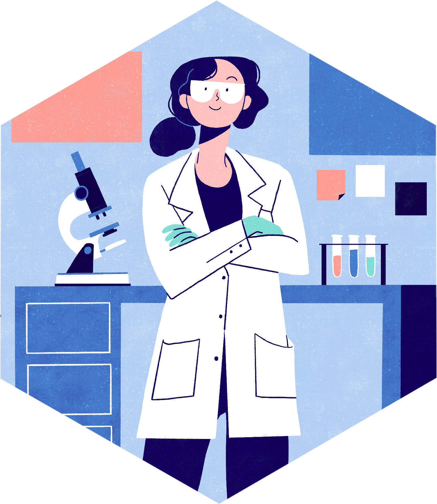 Person wearing a labcoat. Lydia Hill Illustration. All rights reserved.