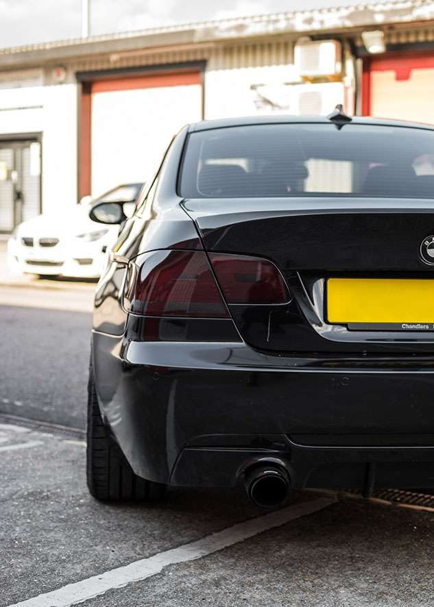 Close up shot of BMW 335i with tinted rear lights