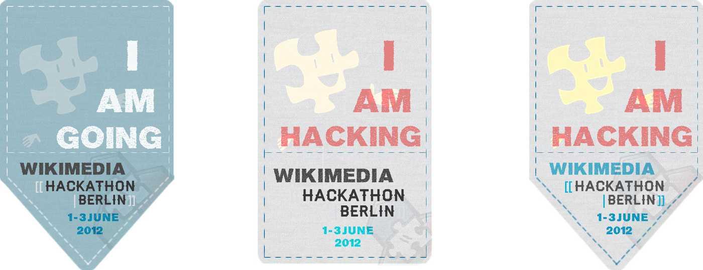 Badges made at the hackathon