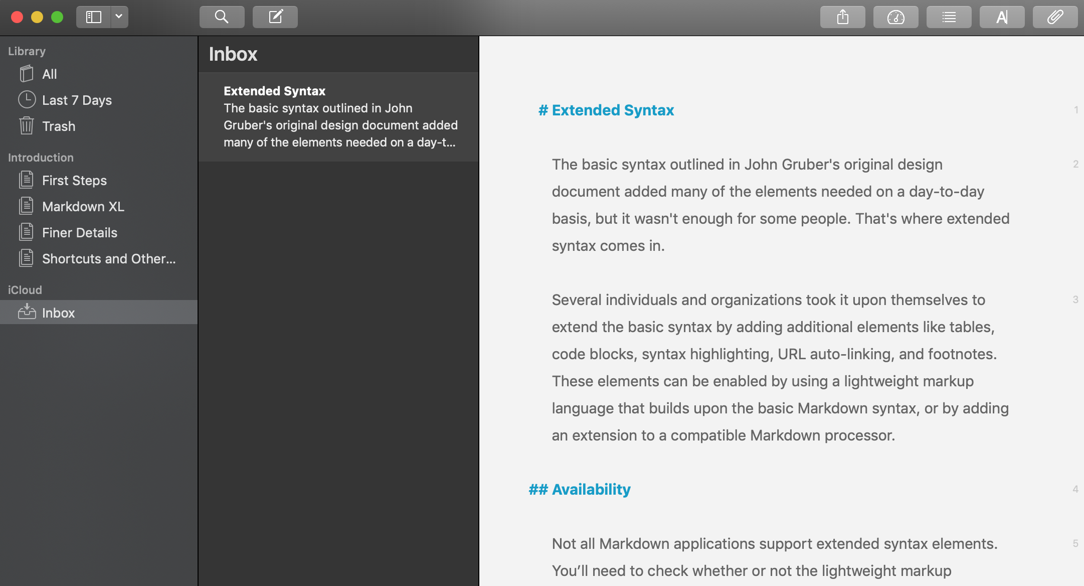 Ulysses application with a Markdown file