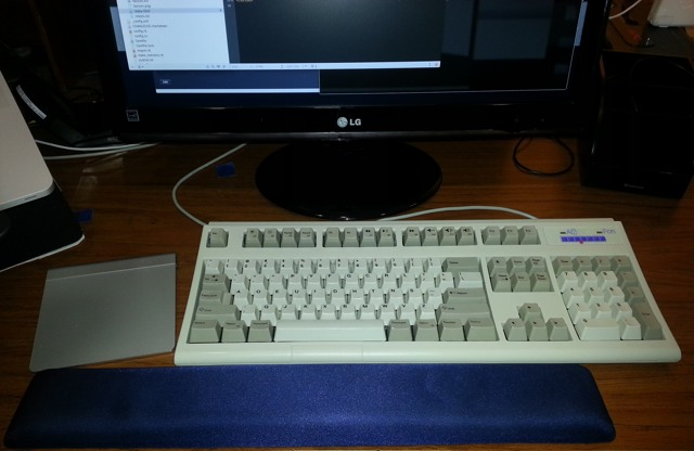 My desktop setup with the trackpad on the left