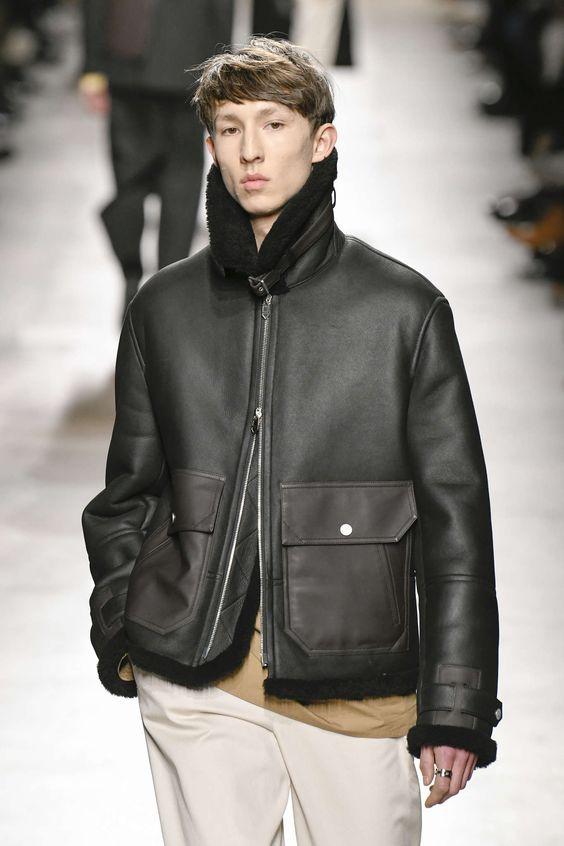 Manteau en cuir à fermeture double curseur