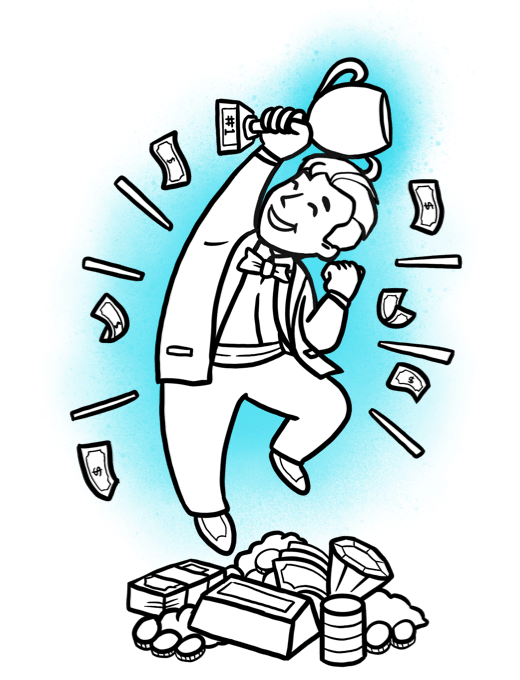 Cartoon character standing on a pile of money, holding a trophy, jumping up and down