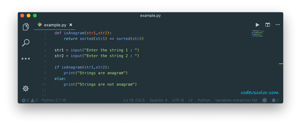 python check strings anagram