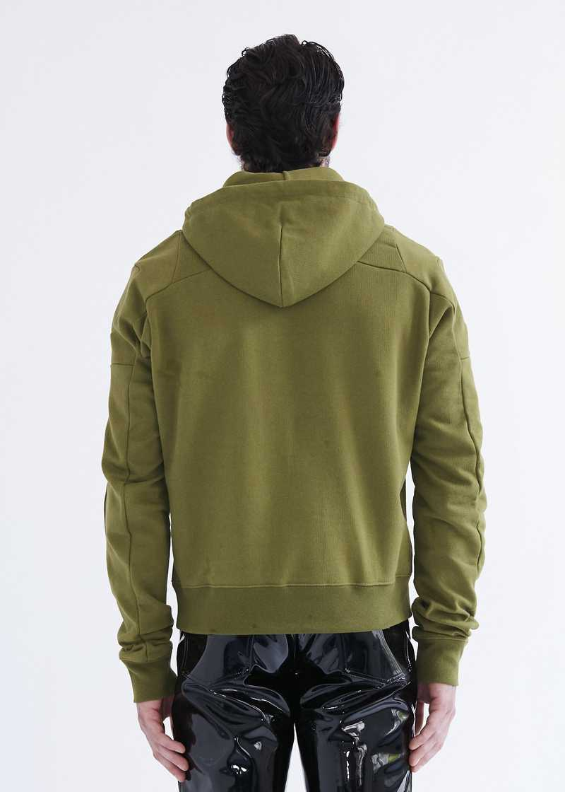 Dash patchwork hoodie khaki with zip. GmbH SS20 collection.