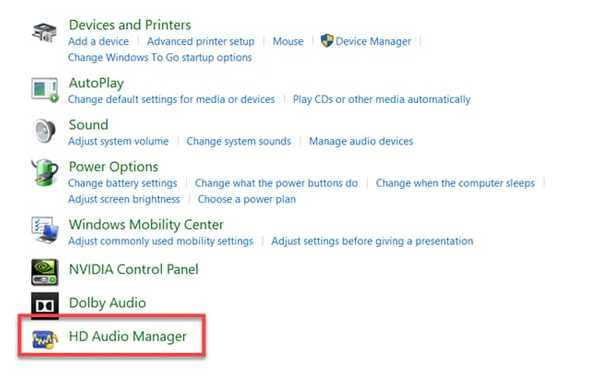 Realtek HD Audio Manager in Windows 10 Control Panel