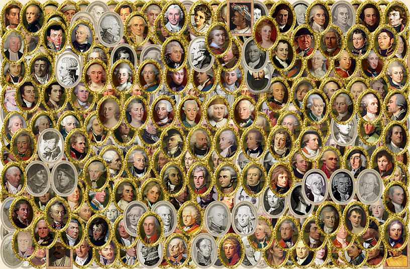 Collage of hundreds of historical portraits that appear in the mod