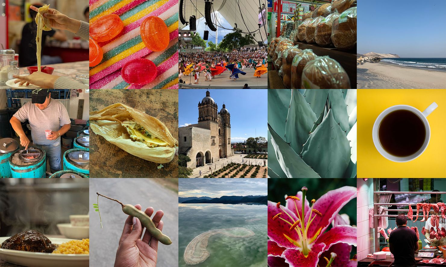 a collage of 15 tastes, sights, and smells from oaxaca including nieves, regional candies, santo domingo, agave, and coffee