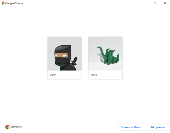 Chrome Manage people: Who wouldn't use the ninja avatar?