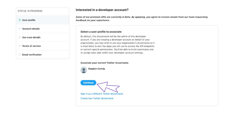 Set up Twitter account