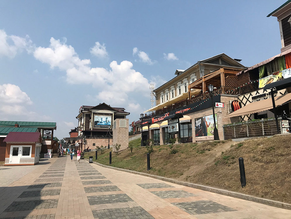 Tourist area of Irkutsk, with shops and restaurants.
