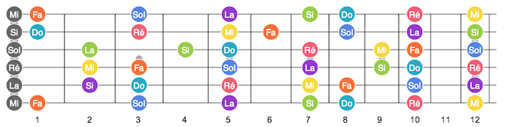 Illustration  du manche de la guitare avec notes