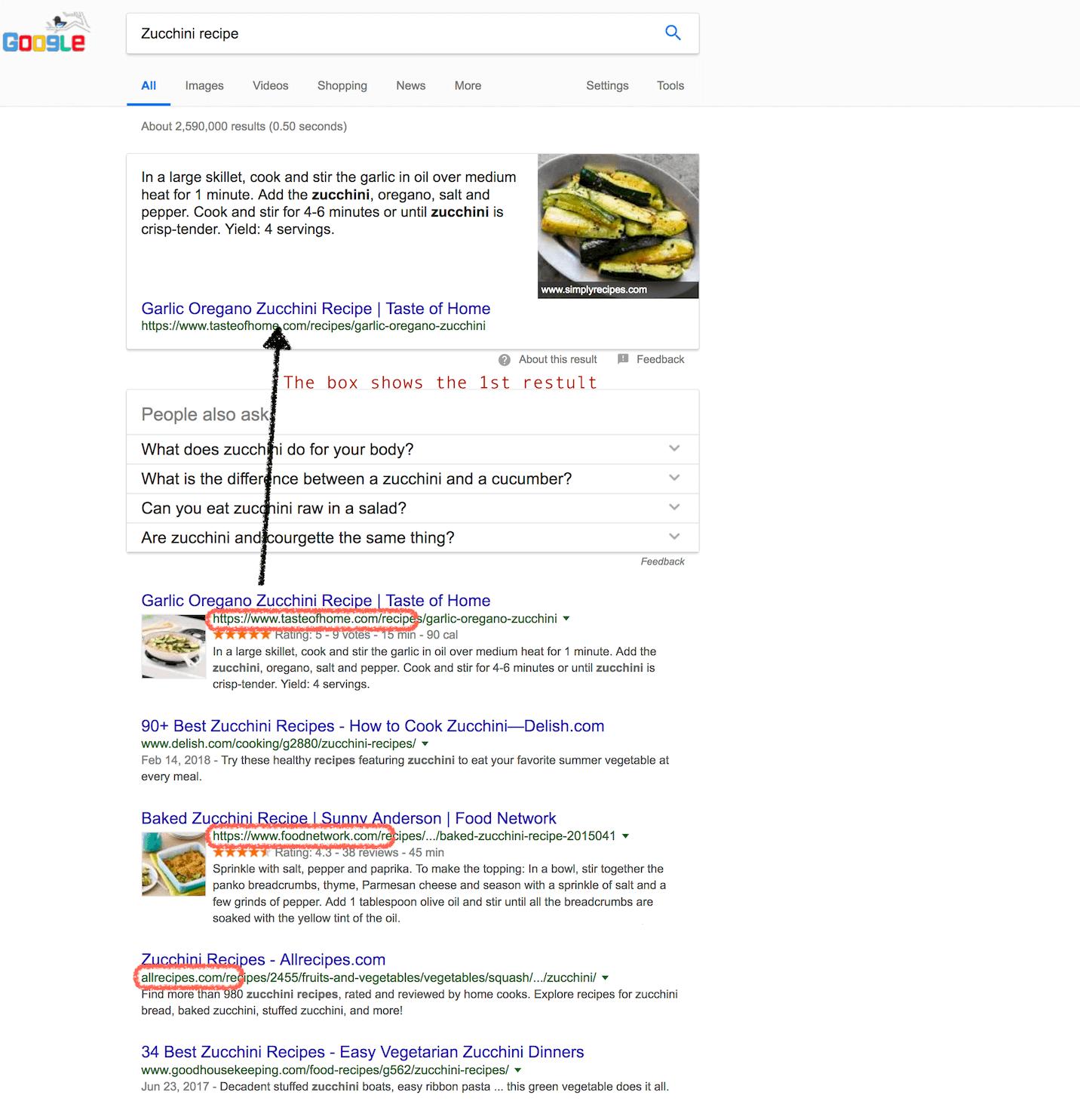 zucchini recipe search results in google