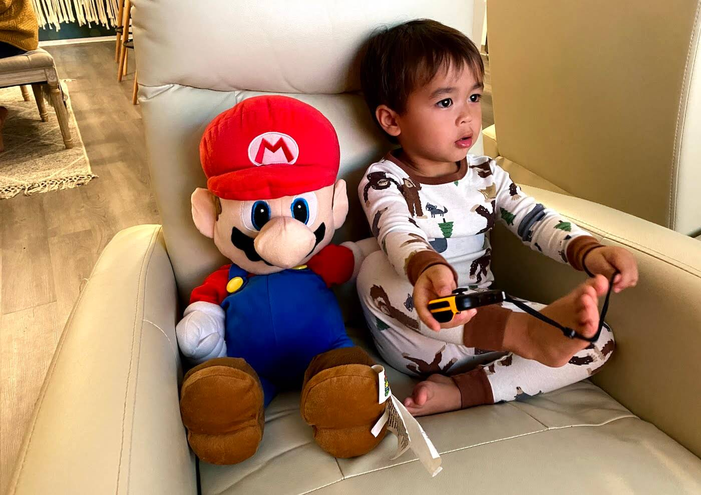 Sitting with Mario