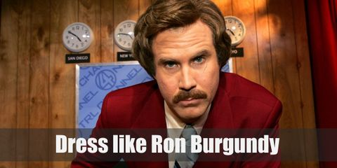 Just like his last name, Ron Burgundy's signature outfit is a burgundy suit with a brown necktie. His hair and mustache speaks a volume of the 70s period.