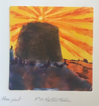 monoprint of Martello Tower with bold sun rays above