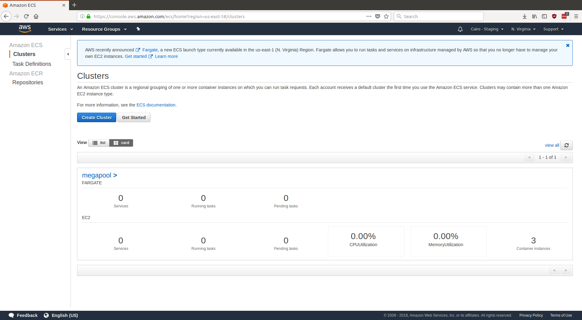 A screenshot of the ECS cluster in the AWS web UI