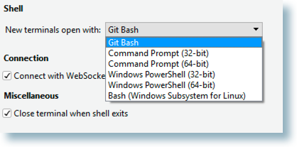 Windows shell options