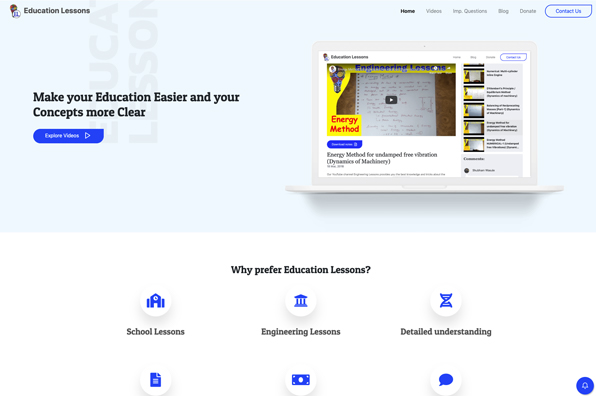 Screenshot of Education Lessons
