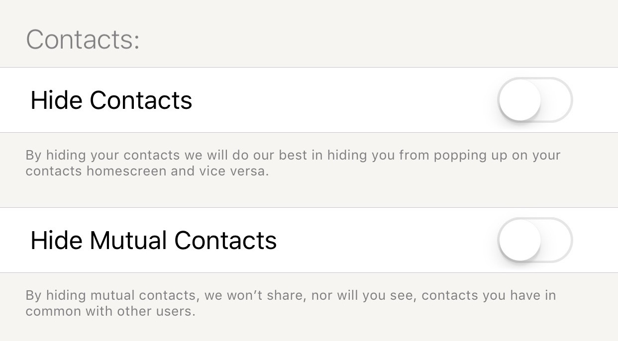 Tantan contacts settings