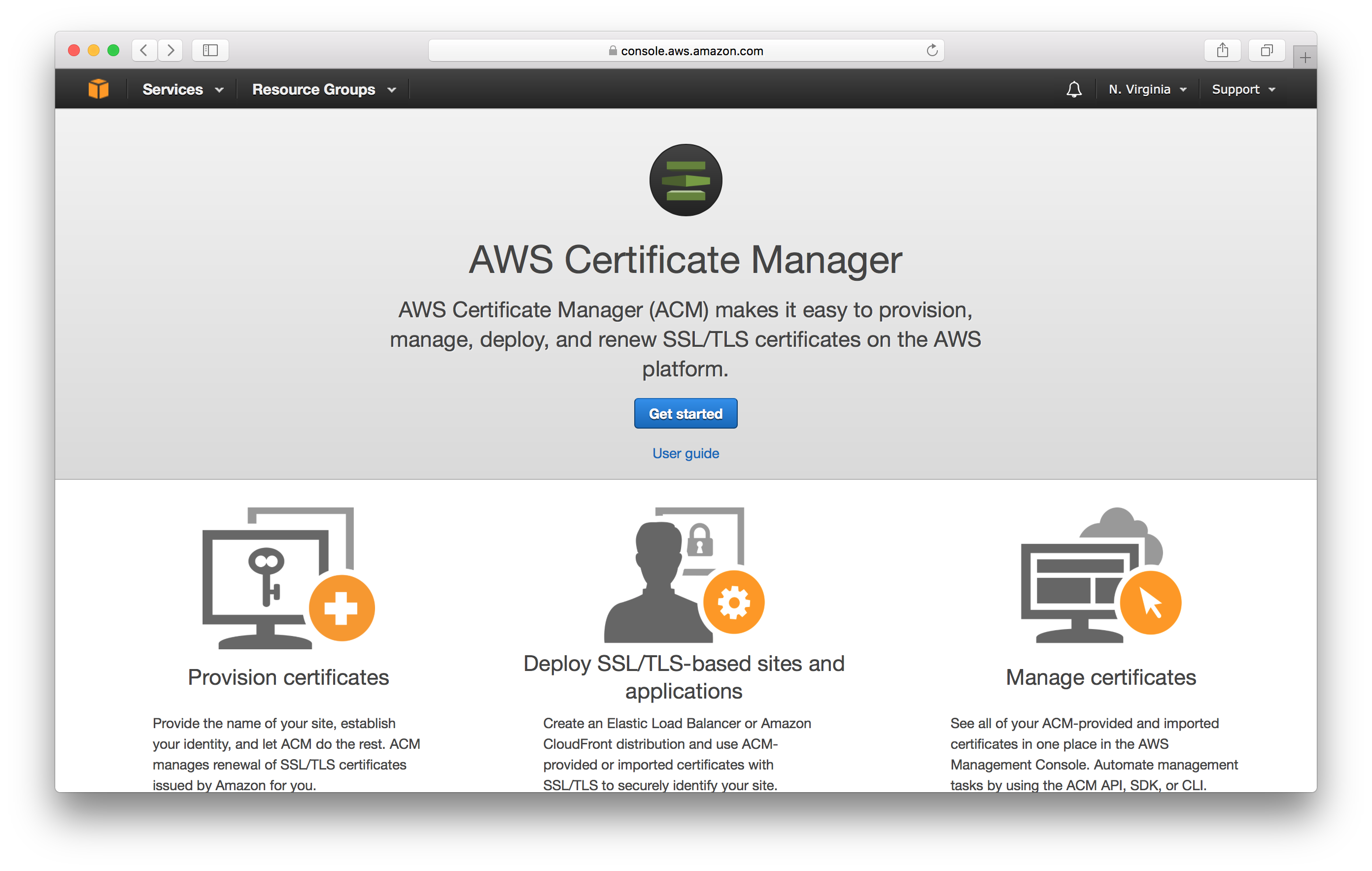 Get started with Certificate Manager screenshot