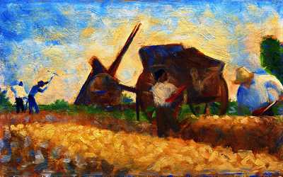 'The Laborers' by Seurat, 1883, National Gallery of Art Washington, DC.