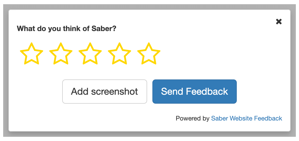 Saber feedback form star rating
