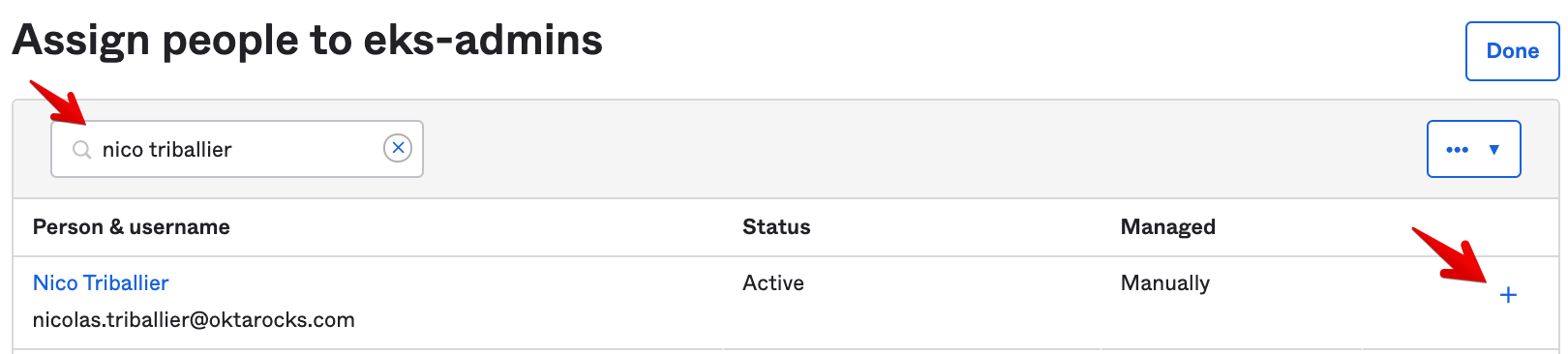 Okta Admin Console - Assign People To Group