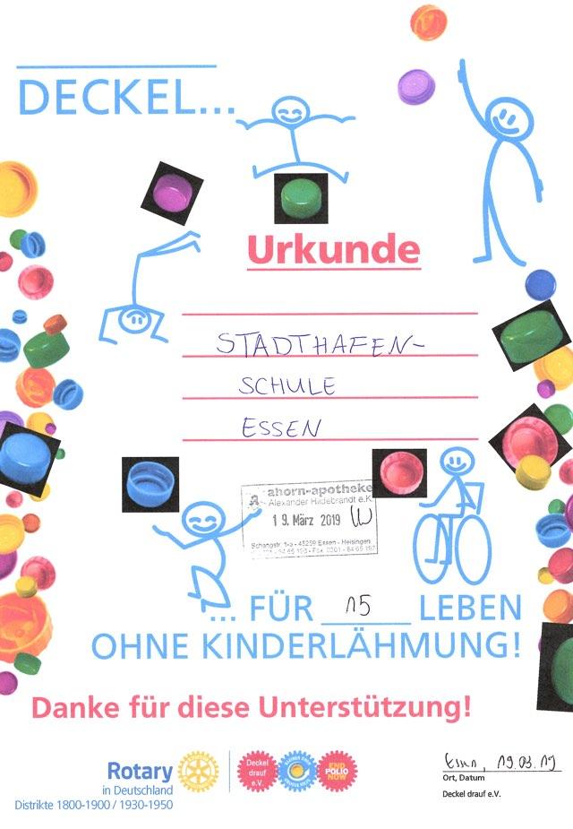Urkunde Deckel gegen Polio 19.03.2019