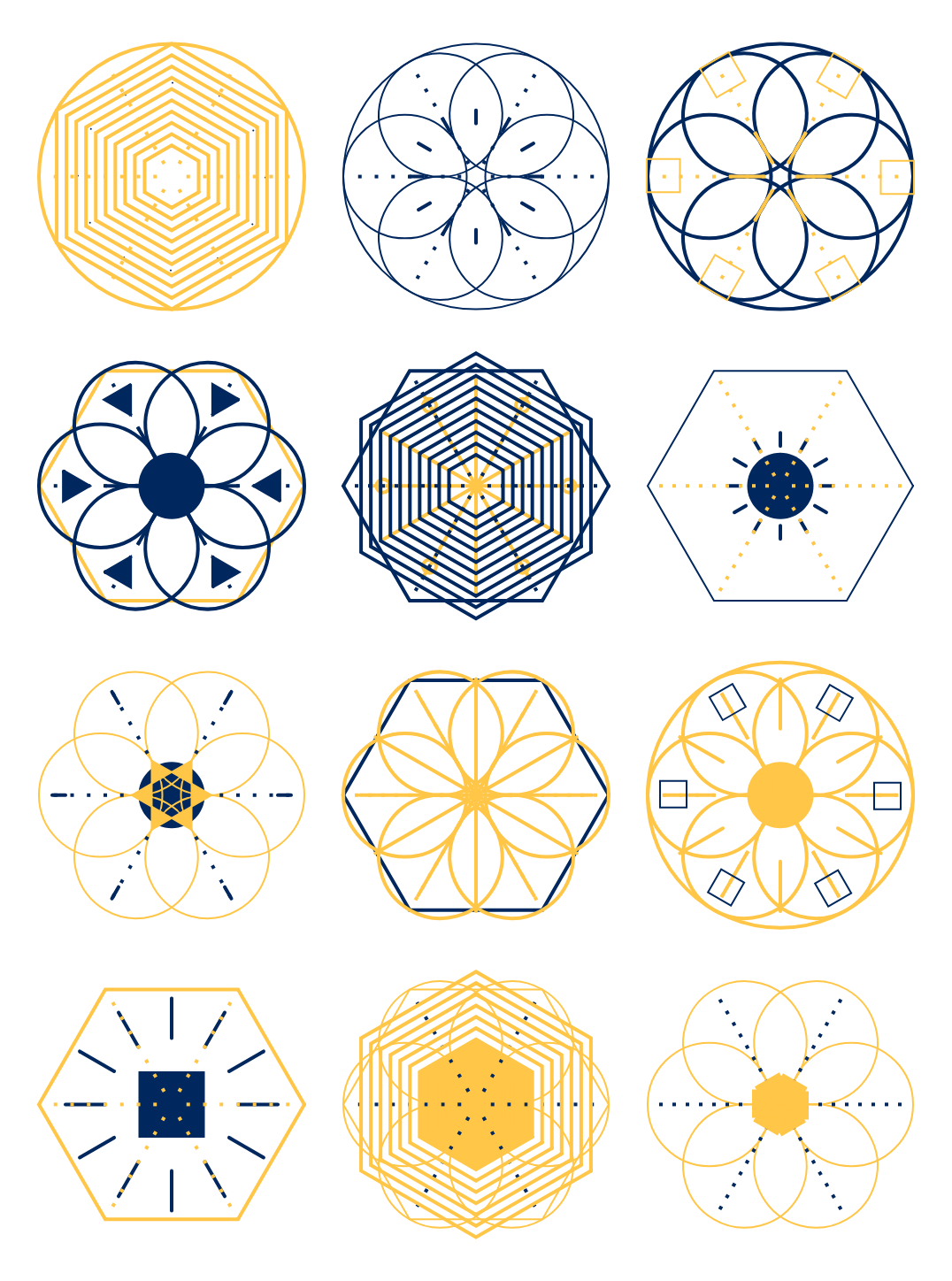 12 crystals made by a generative design system on a 3×4 grid