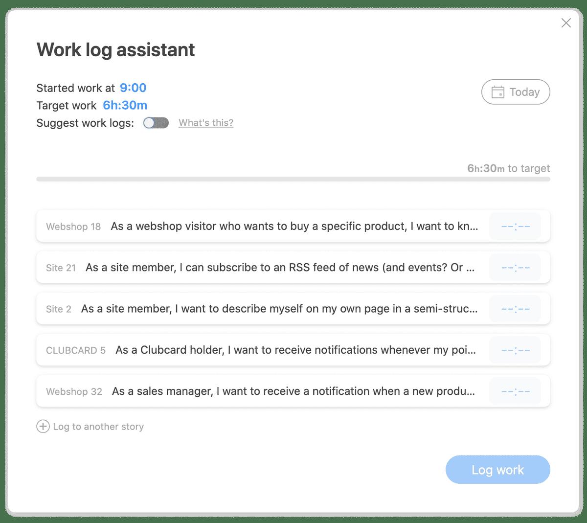 Work log list