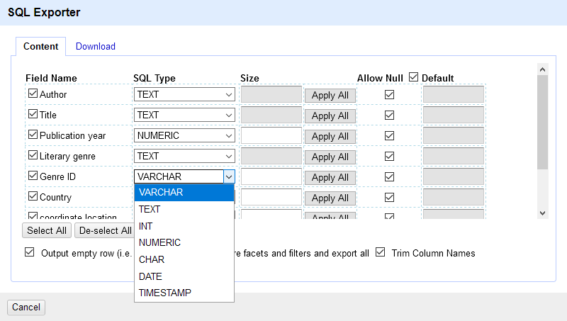 A screenshot of the SQL statement content window.