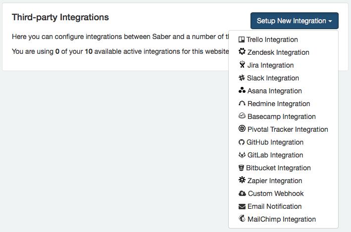 New Integration Dropdown