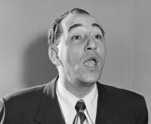 Black and white photo of Louis Prima