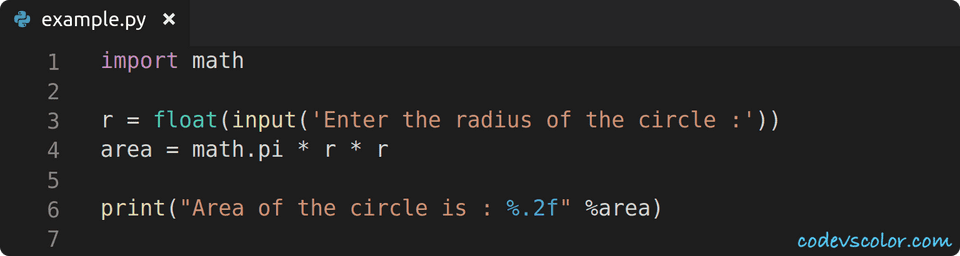 python find circle area using math module example