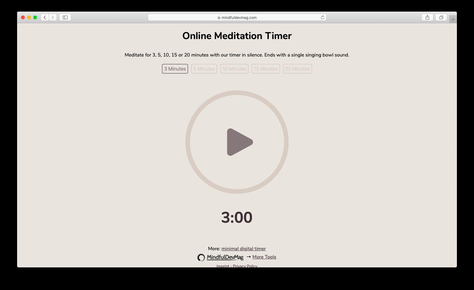 screenshot of the online meditation timer