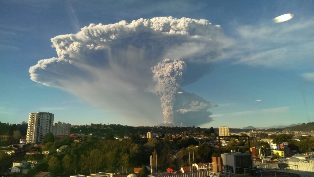 volcano erupting over Chile City